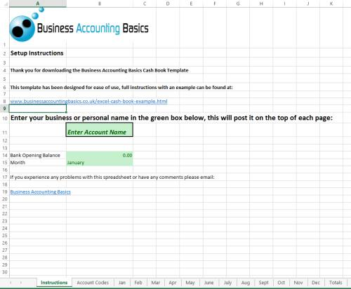 Free Excel cash book instructions