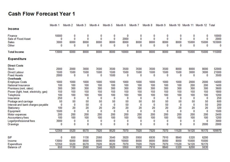 Cash flow forecast template for cash flow forecasts for 12 month profit and loss projection template