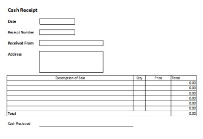 free cash receipts templates excel receipts template