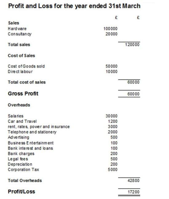profit and losses example