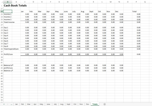 Excel Cash Book Template Bookkeeping
