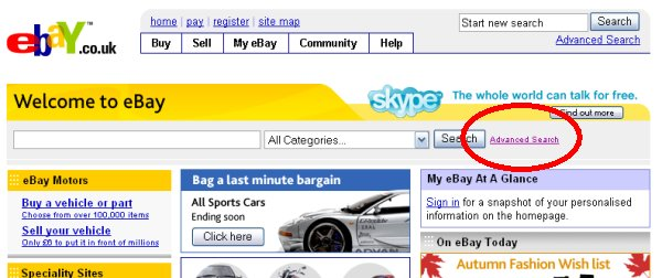 eBay Advanced Search Function