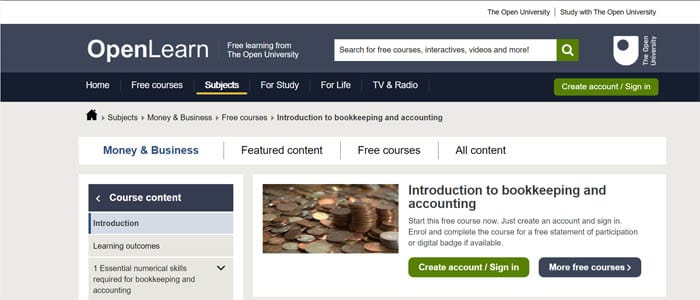 Open Learn Free Bookkeeping Course