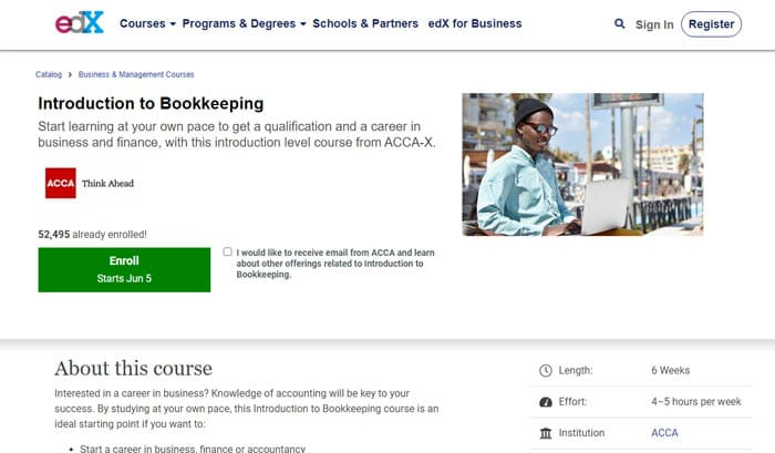 edX Bookkeeping Course Online