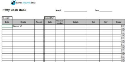 Petty Cash Excel Template