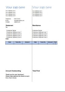 Statement Of Account Template Customer Statement Excel Download