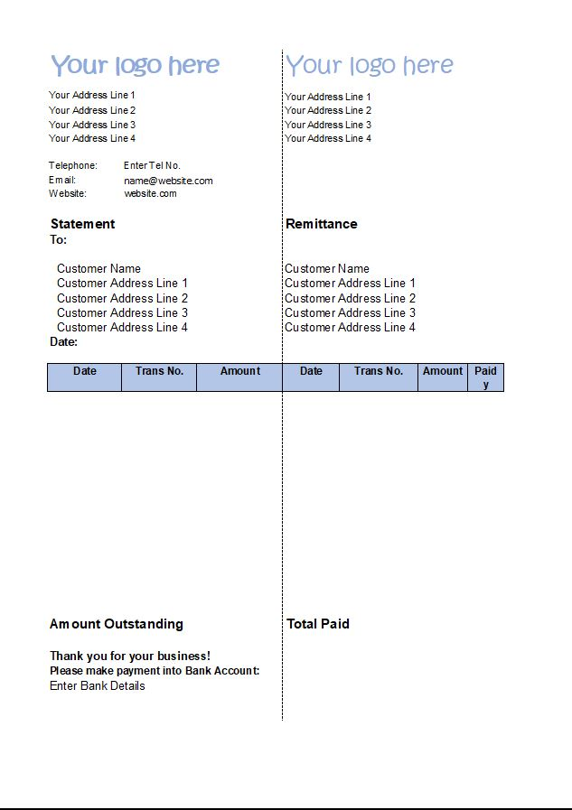 Statement Of Account Template Customer Statement Excel
