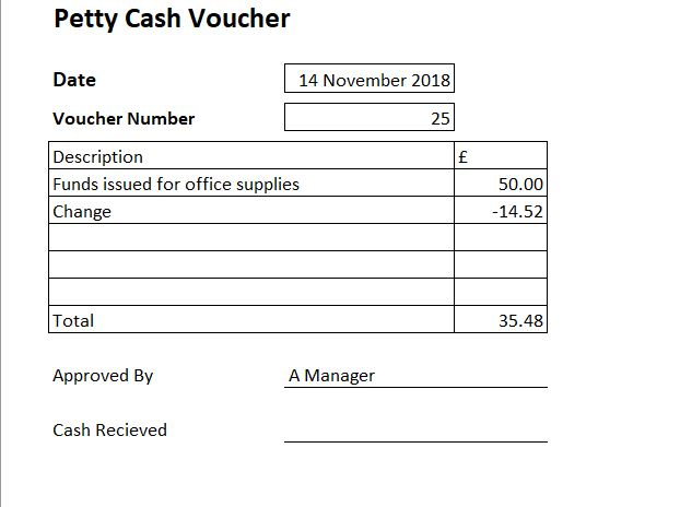 petty cash voucher example
